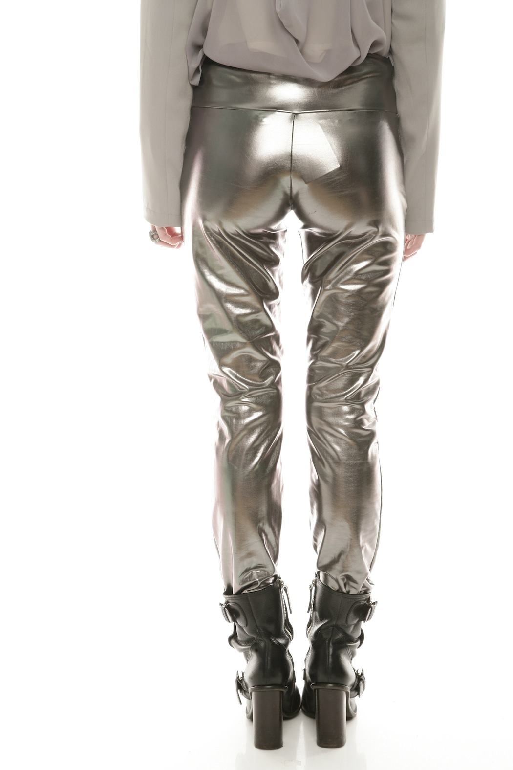 The Aesthetik Gunmetal Metallic Pants - Back Cropped Image