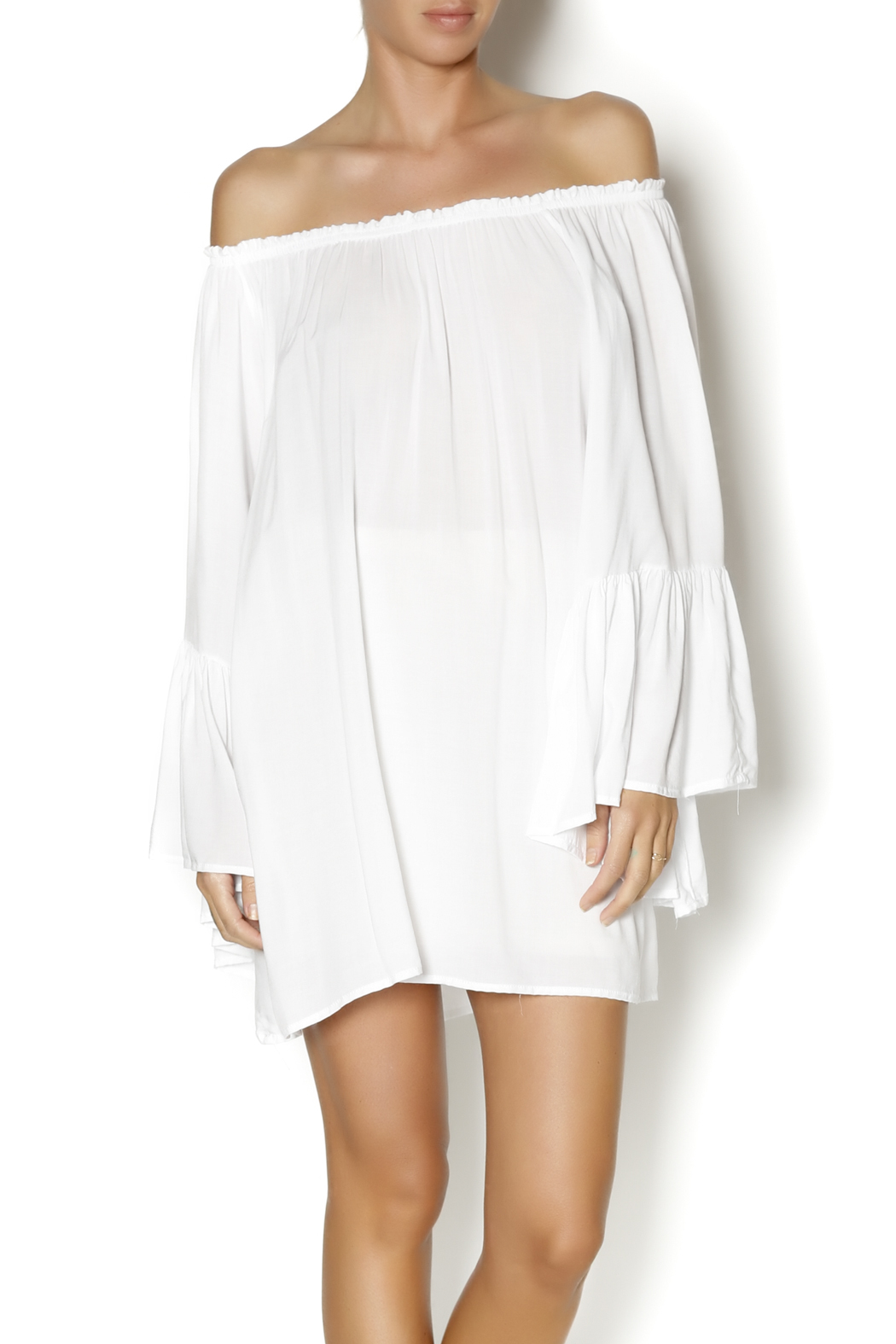Elan White Boho Top - Front Cropped Image