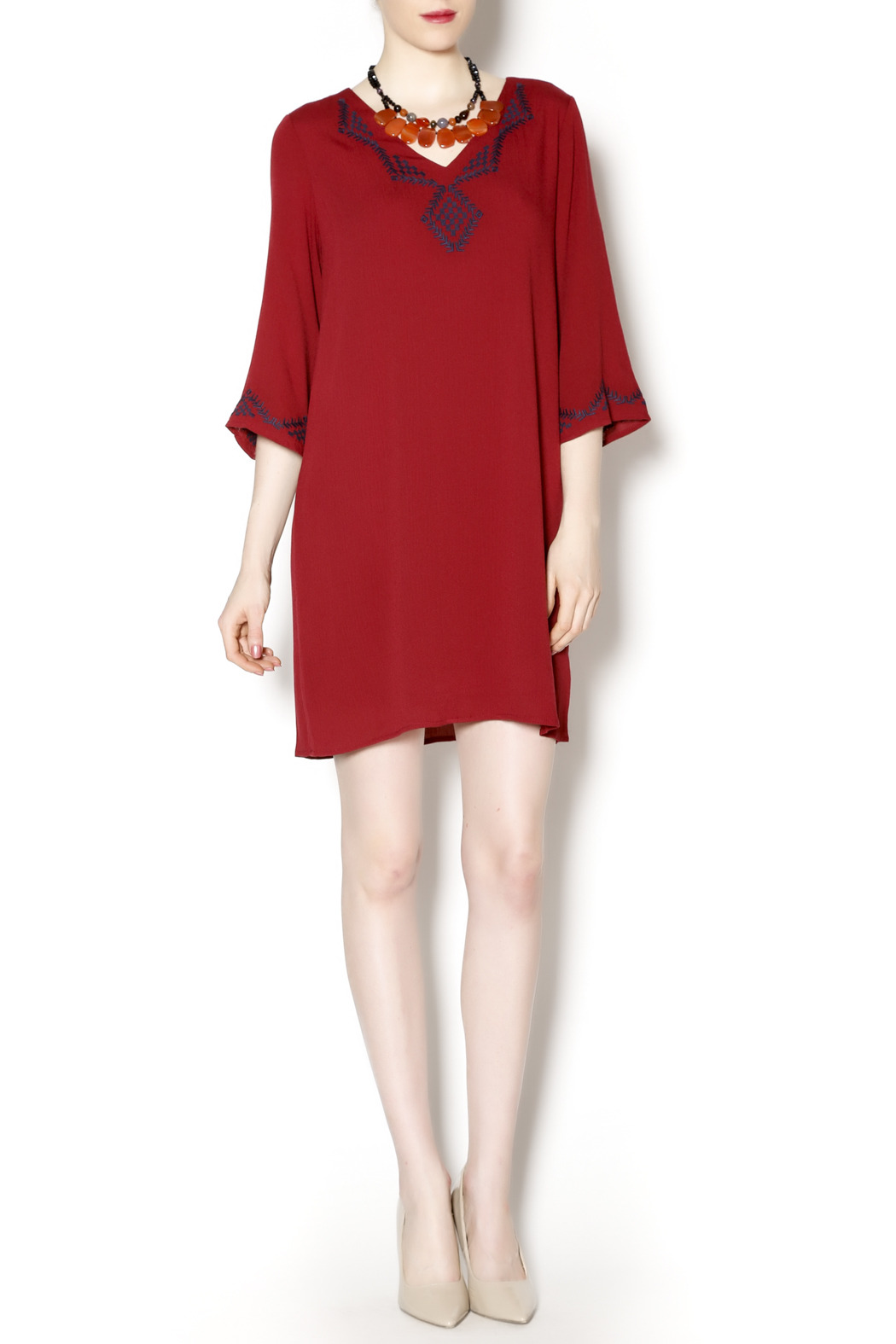 Final Touch Embroidered Red Gauze Dress - Front Full Image