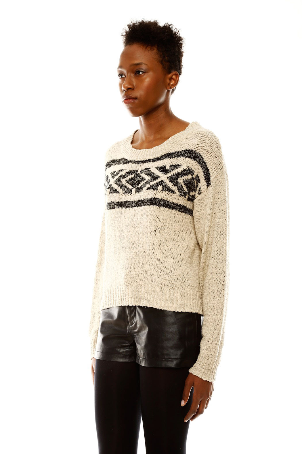 Covet Aztec Cropped Sweater - Side Cropped Image