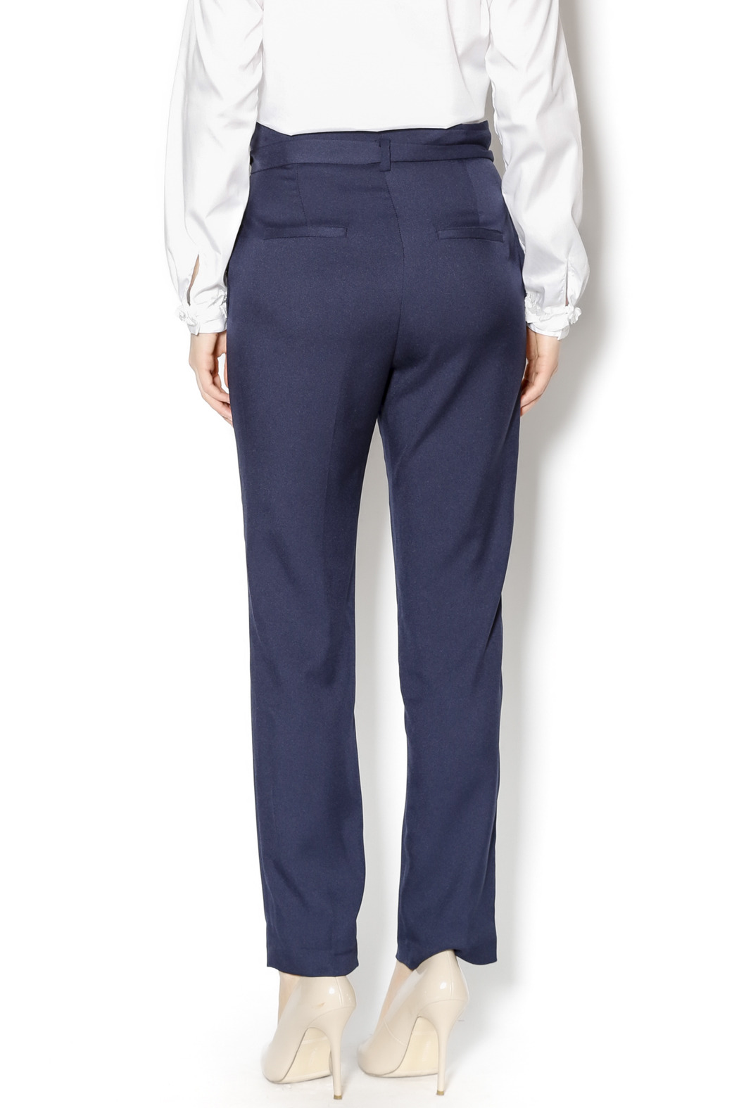 Pinkyotto Navy High Waisted Tie Pants - Back Cropped Image