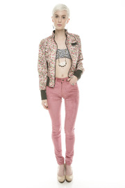 Members Only Floral  Bomber Jacket - Front full body