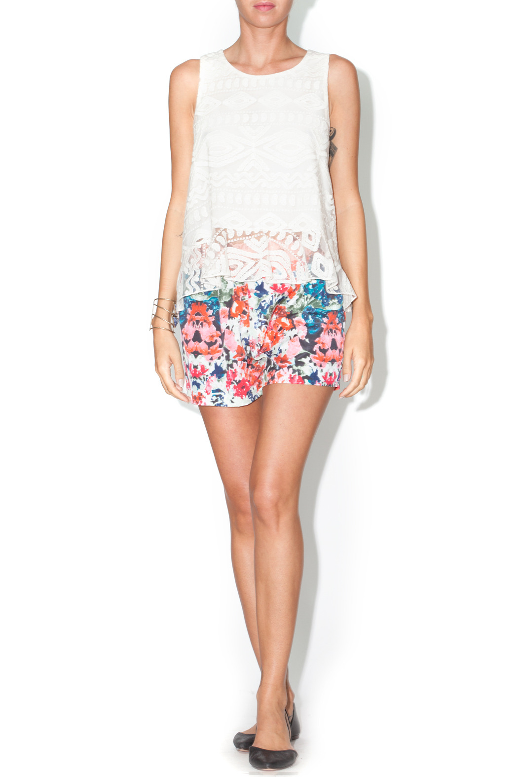 Library Floral Josie Shorts - Front Full Image