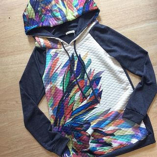 Shoptiques Watercolor Quilted Hoodie