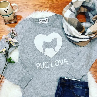 Shoptiques Product: Pug Love Grey Sweater