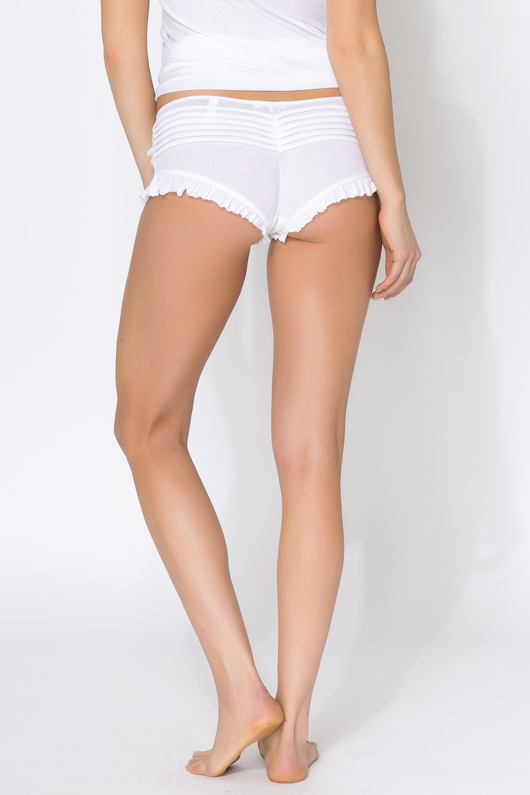 Skin Organic Cotton Pleated Shorty - Back Cropped Image