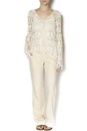 Moon River Crochet Tie Front Tunic - Front full body