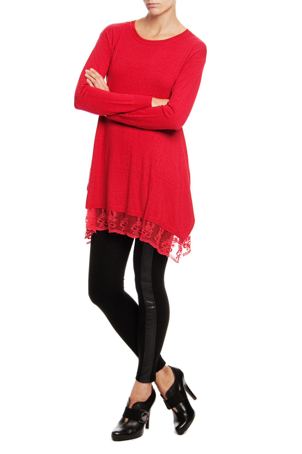 Madonna & Co Lace Trim Tunic Sweater from Upper East Side by ...