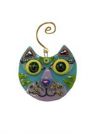 C Roses Blue Cat Ornament - Front cropped
