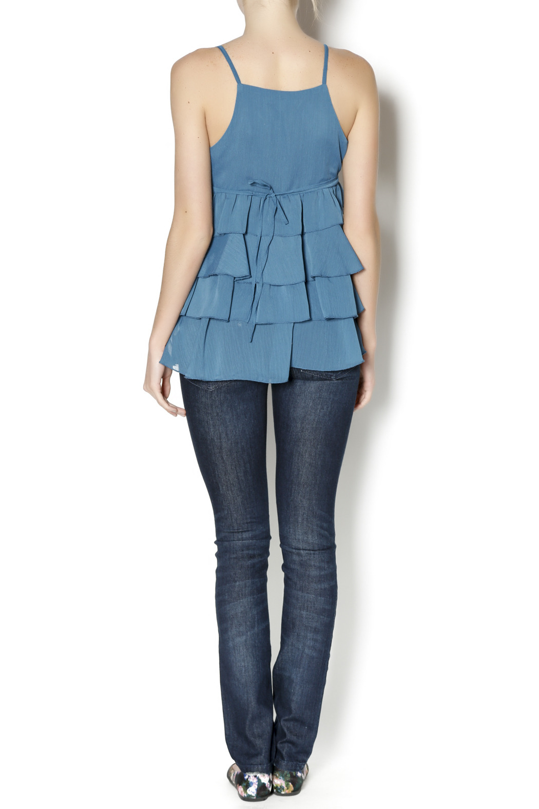 Elise Pearl Ruffle Top - Side Cropped Image