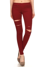 Ca Winner Burgundy Distressed Jeggings - Product Mini Image