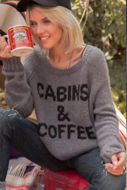 Wooden Ships Cabins & Coffee Raglan Sweater - Front full body