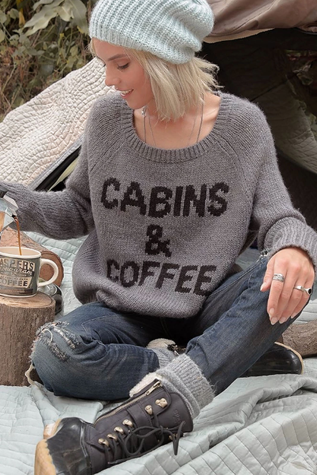 Wooden Ships Cabins & Coffee Raglan Sweater - Side Cropped Image