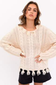 Le Lis Cable Crew Neck Distressed Sweater - Product List Image