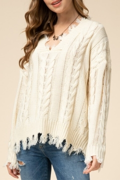 Entro  Cable Fringe Sweater - Product List Image