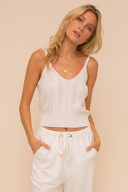 Hem & Thread Cable Knit Adj Strap Tank - Front cropped