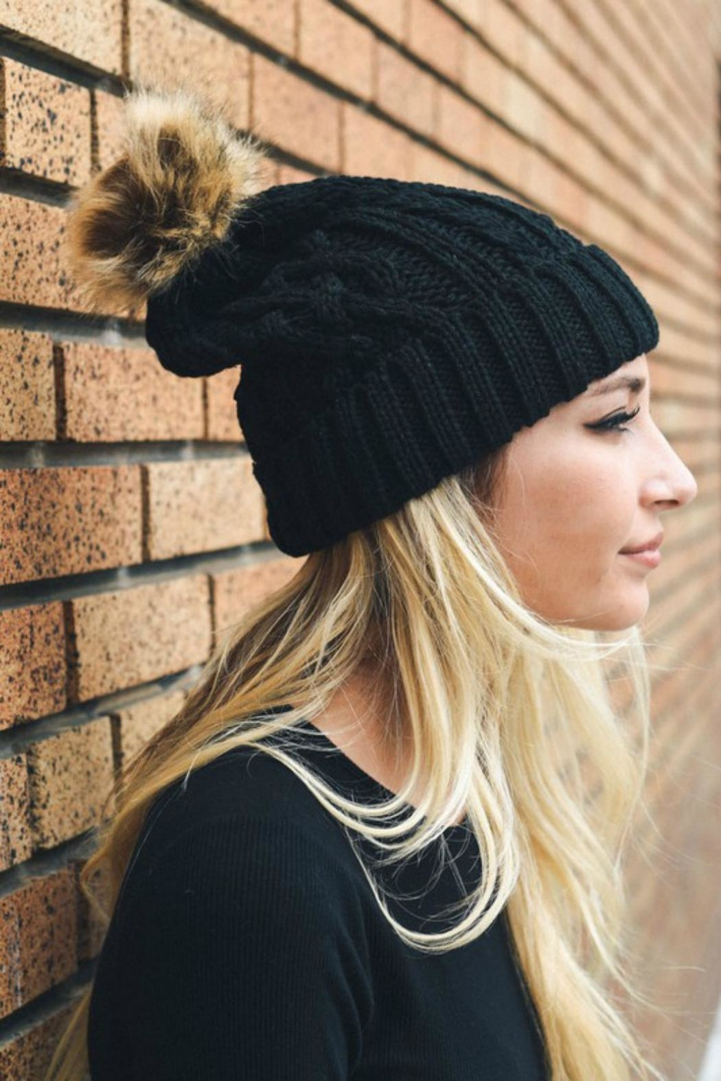 Pretty Little Things Cable Knit Beanie - Front Cropped Image