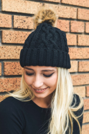 Leto Cable Knit Beanie with contrast  Pom - Front full body