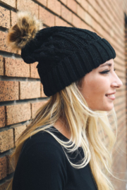 Leto Cable Knit Beanie with contrast  Pom - Product Mini Image