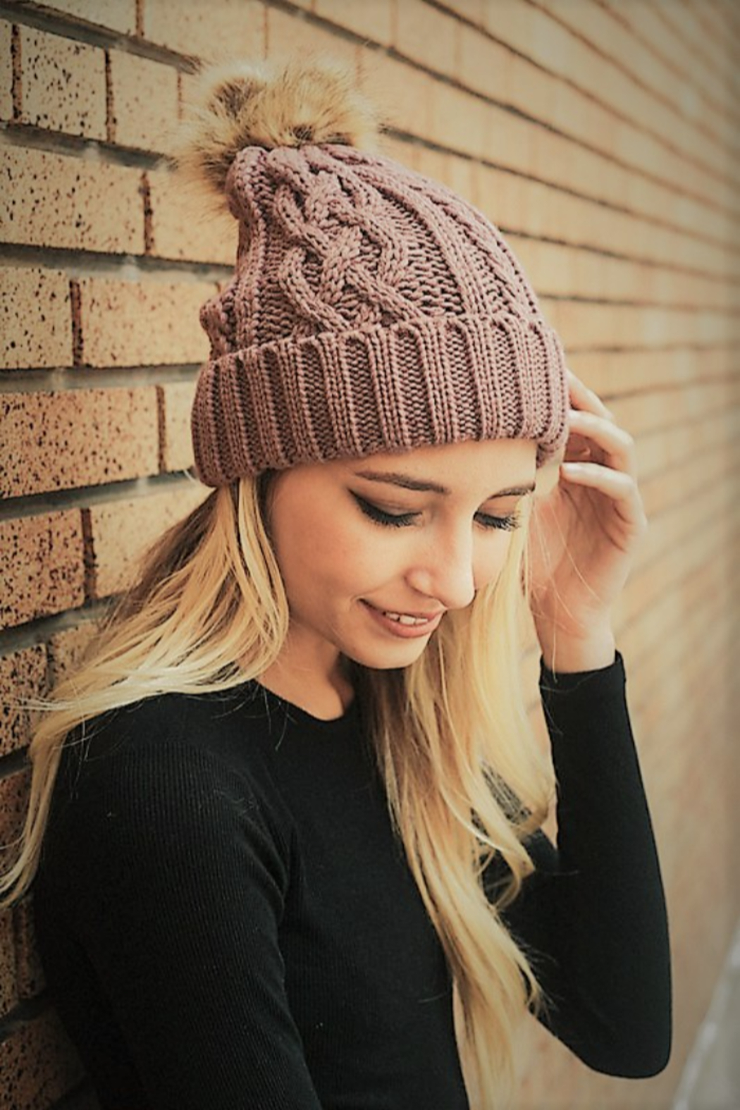 Leto Cable Knit Beanie with contrast  Pom - Front Cropped Image