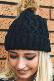 Leto Accessories Cable Knit Beanie With Faux Fur Pom - Product Mini Image