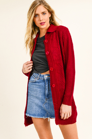 MONTREZ CABLE KNIT BOHO DUSTER SWEATER CARDIGAN - Front cropped
