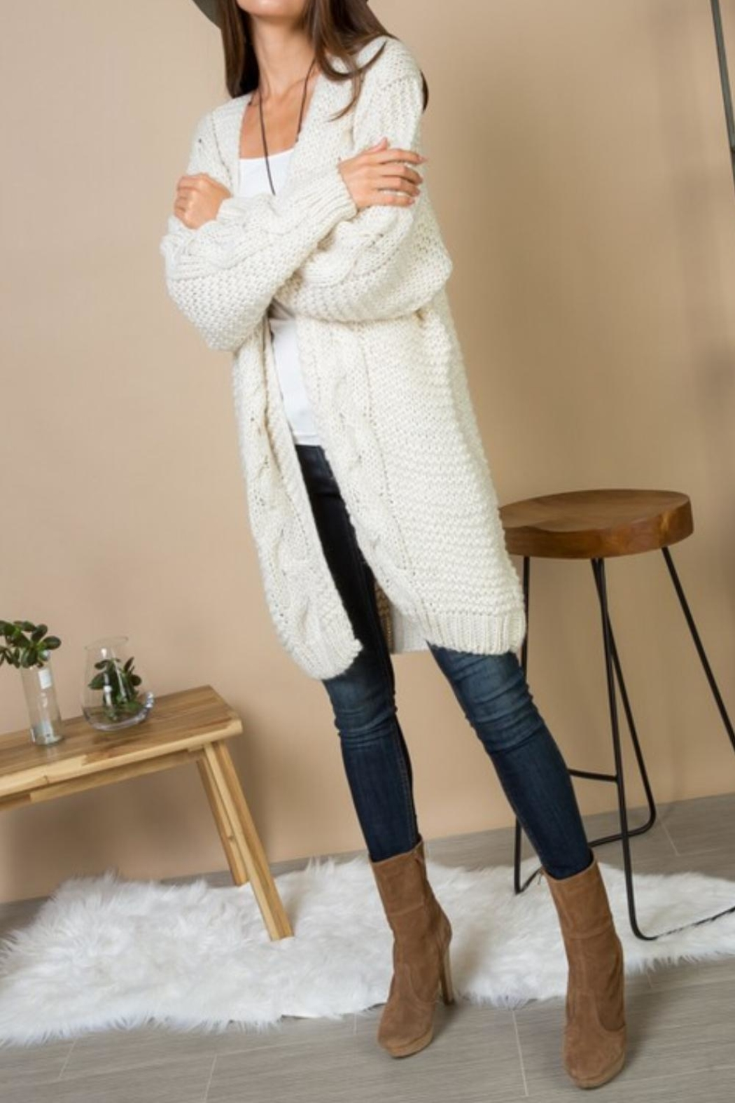 Gifted Cable Knit Cardi - Front Full Image