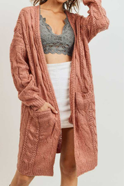 Lyn-Maree's  Cable Knit Cardi - Front cropped
