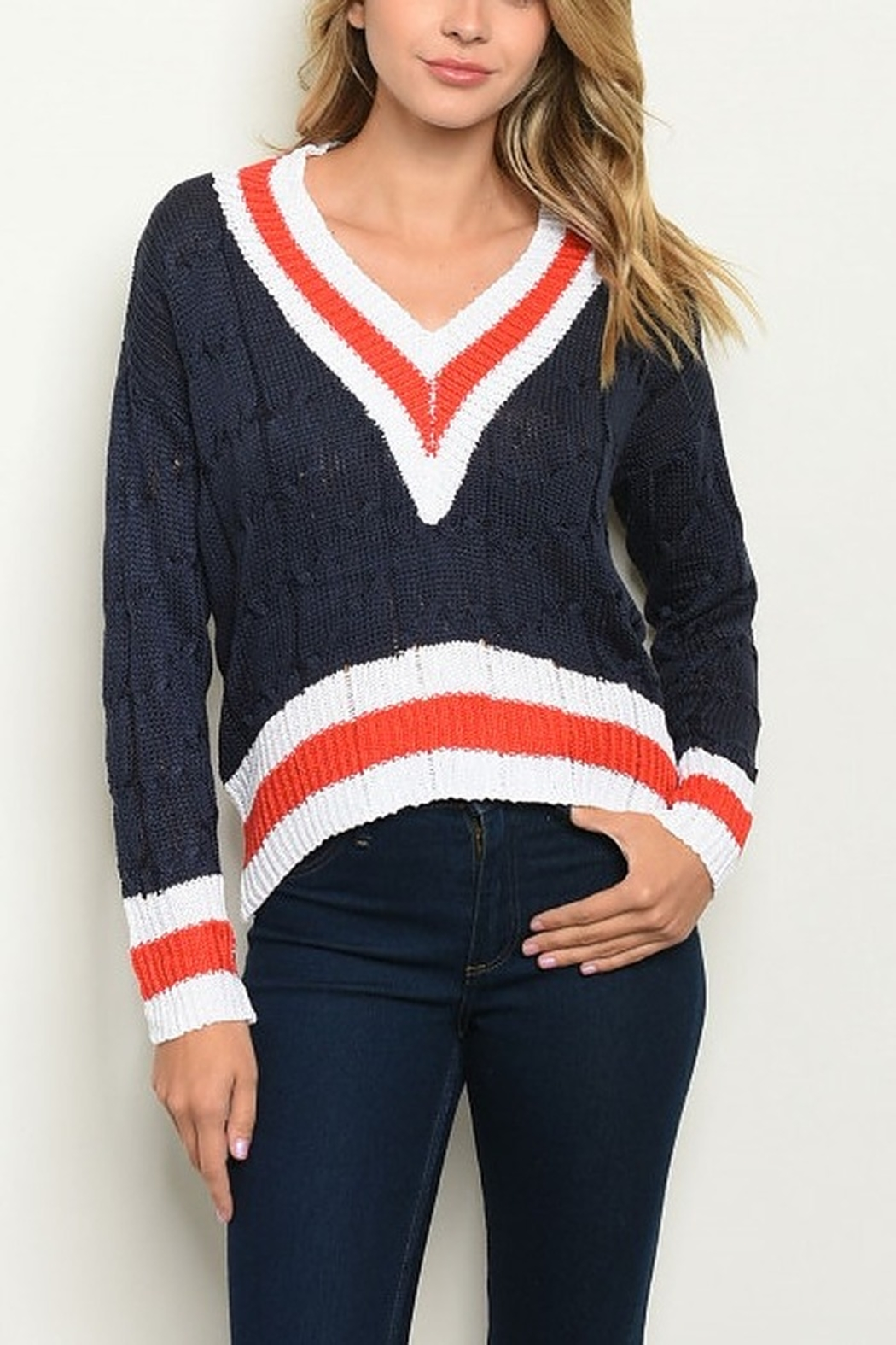 Lyn-Maree's  Cable Knit Cotton Sweater - Main Image
