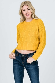 Olive Cable-Knit Cropped Sweater - Product Mini Image