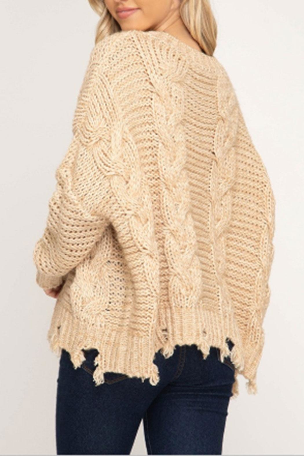 She + Sky Cable-Knit Distressed Sweater - Front Full Image