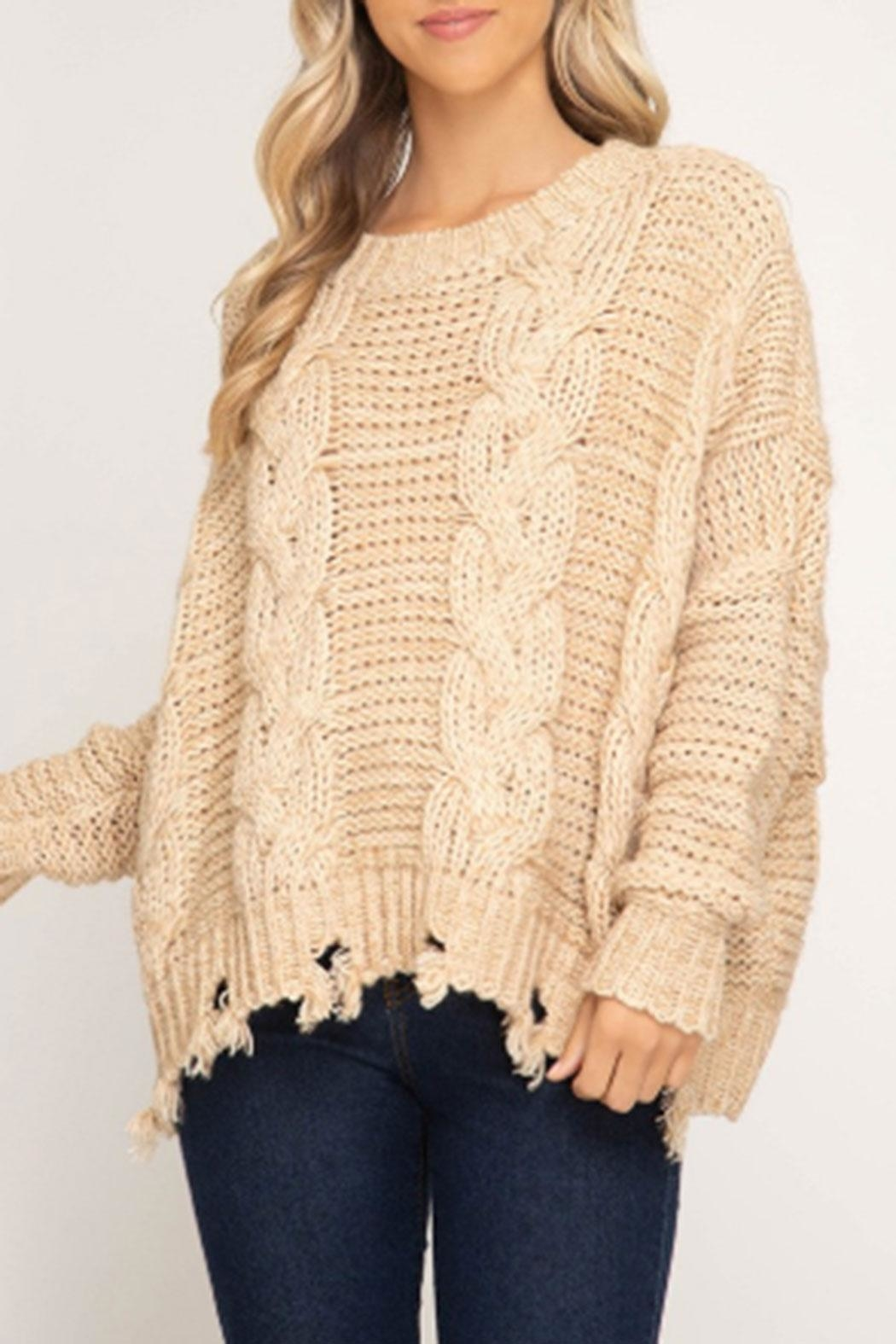 She + Sky Cable-Knit Distressed Sweater - Main Image