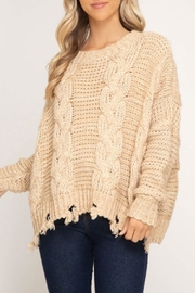 She + Sky Cable-Knit Distressed Sweater - Front cropped