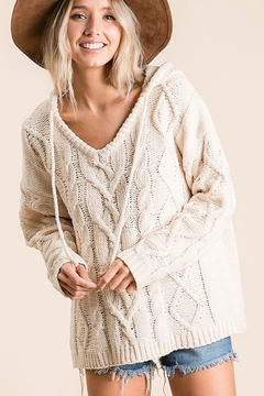 Ces Femme Cable Knit Drawstring Hooded Sweater - Product List Image