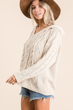 Ces Femme Cable Knit Drawstring Hooded Sweater - Alternate List Image