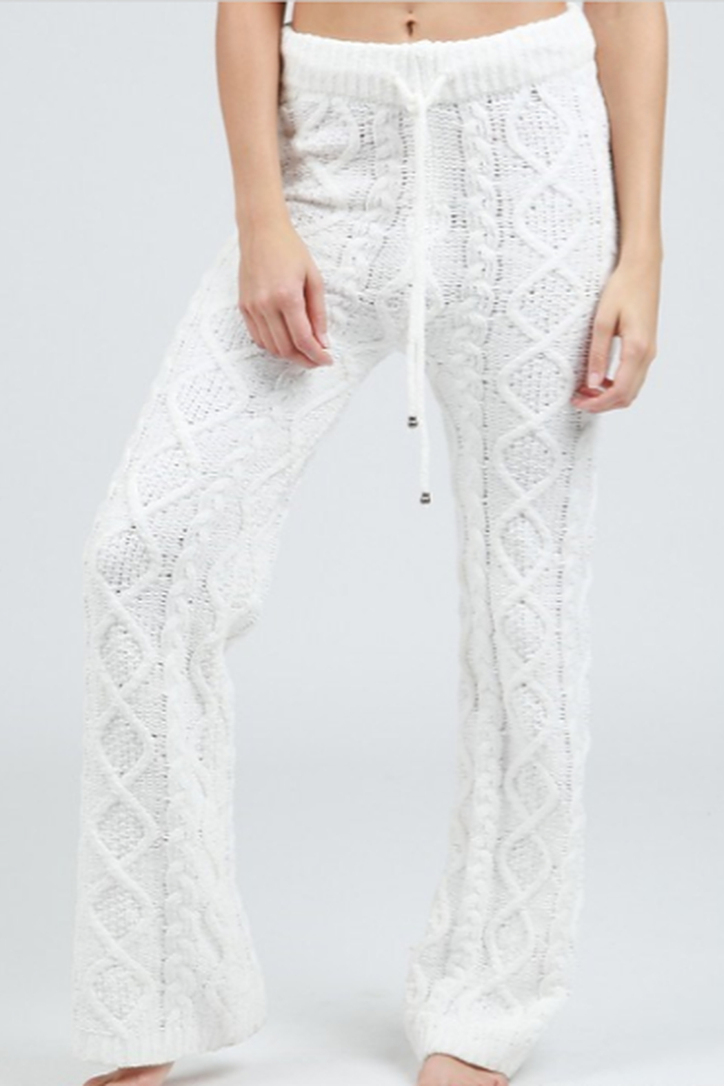 POL Cable Knit Fleece Pants - Front Full Image