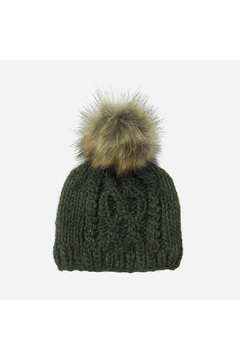 The Blueberry Hill Cable Knit Hat With Fur Pom Pom - Alternate List Image