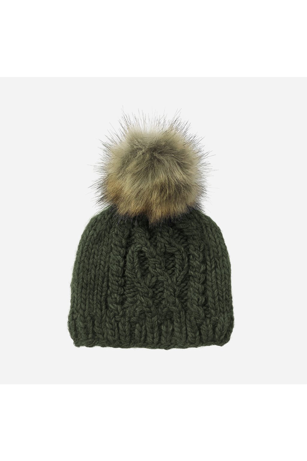 The Blueberry Hill Cable Knit Hat With Fur Pom Pom - Main Image
