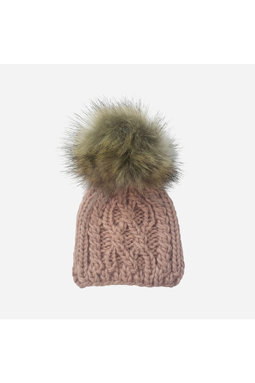 The Blueberry Hill Cable Knit Hat With Fur Pom Pom - Front Cropped Image