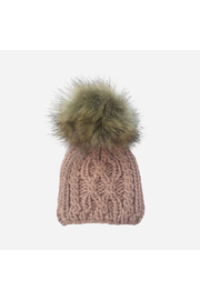 The Blueberry Hill Cable Knit Hat With Fur Pom Pom - Front cropped