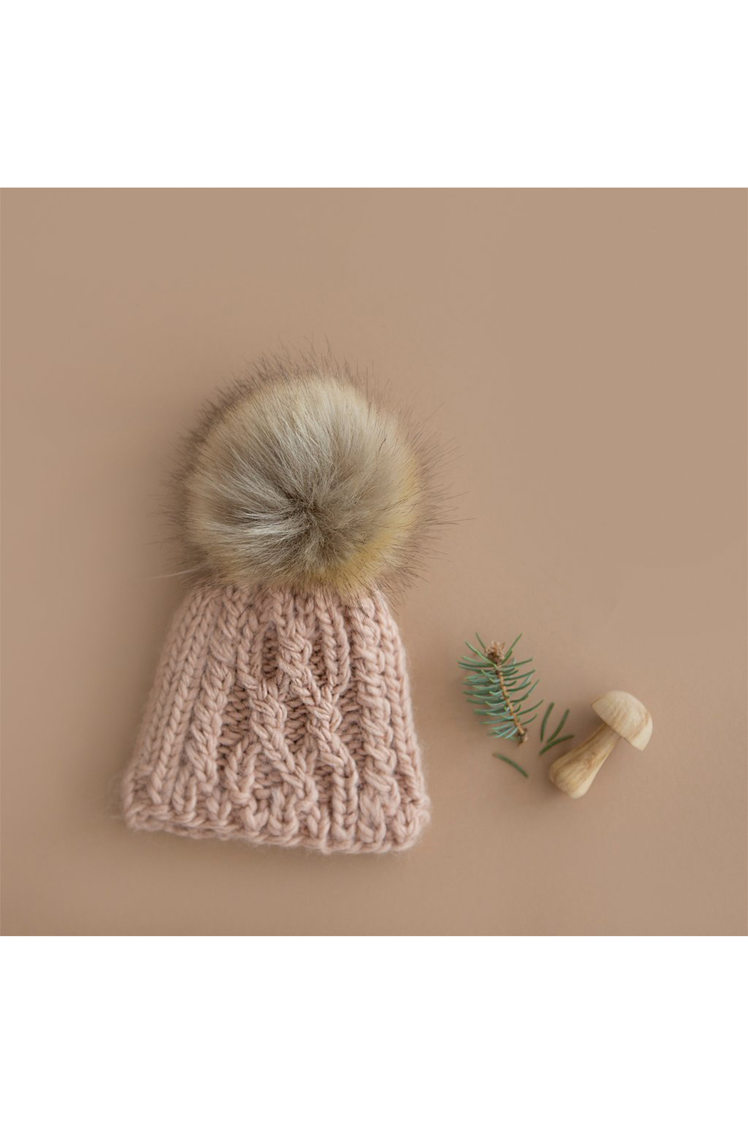 The Blueberry Hill Cable Knit Hat With Fur Pom Pom - Front Full Image