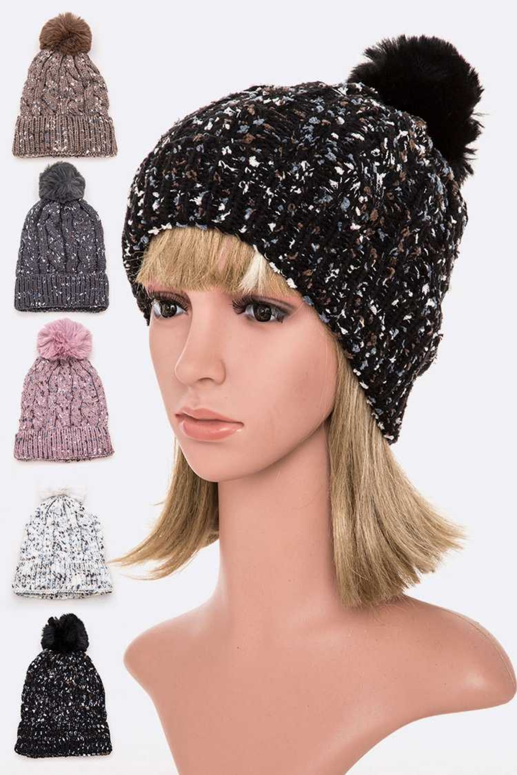Lyn-Maree's  Cable Knit Marle Beanie - Main Image