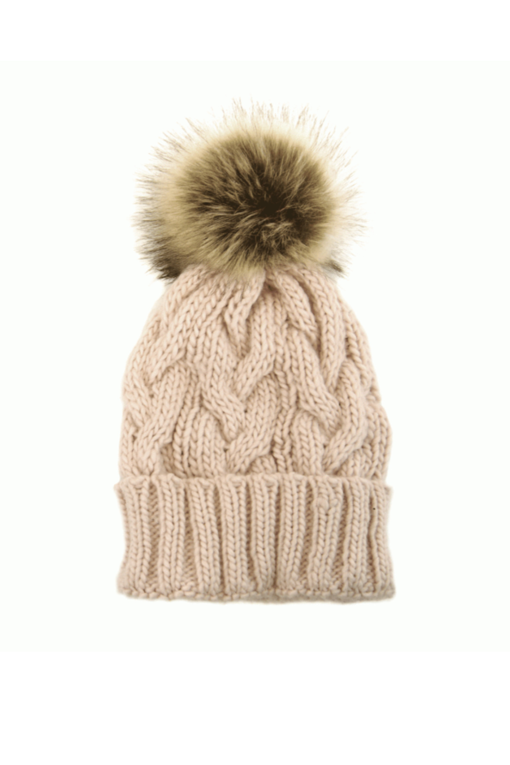 Joy Accessories Cable Knit Pom Pom Hat - Front Cropped Image