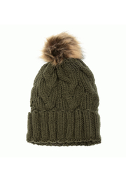Joy Accessories Cable Knit Pom Pom Hat - Front cropped