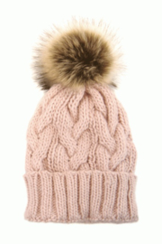 Joy Accessories Cable Knit Pom Pom Hat - Front full body