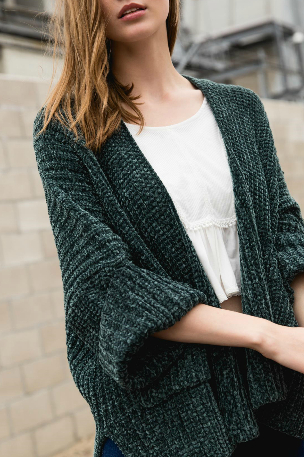POL Cable knit slouch cardigan with wide 3/4 sleeves - Main Image