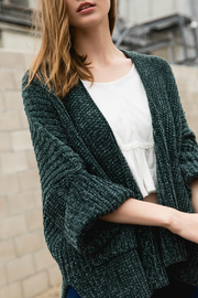 POL Cable knit slouch cardigan with wide 3/4 sleeves - Front cropped