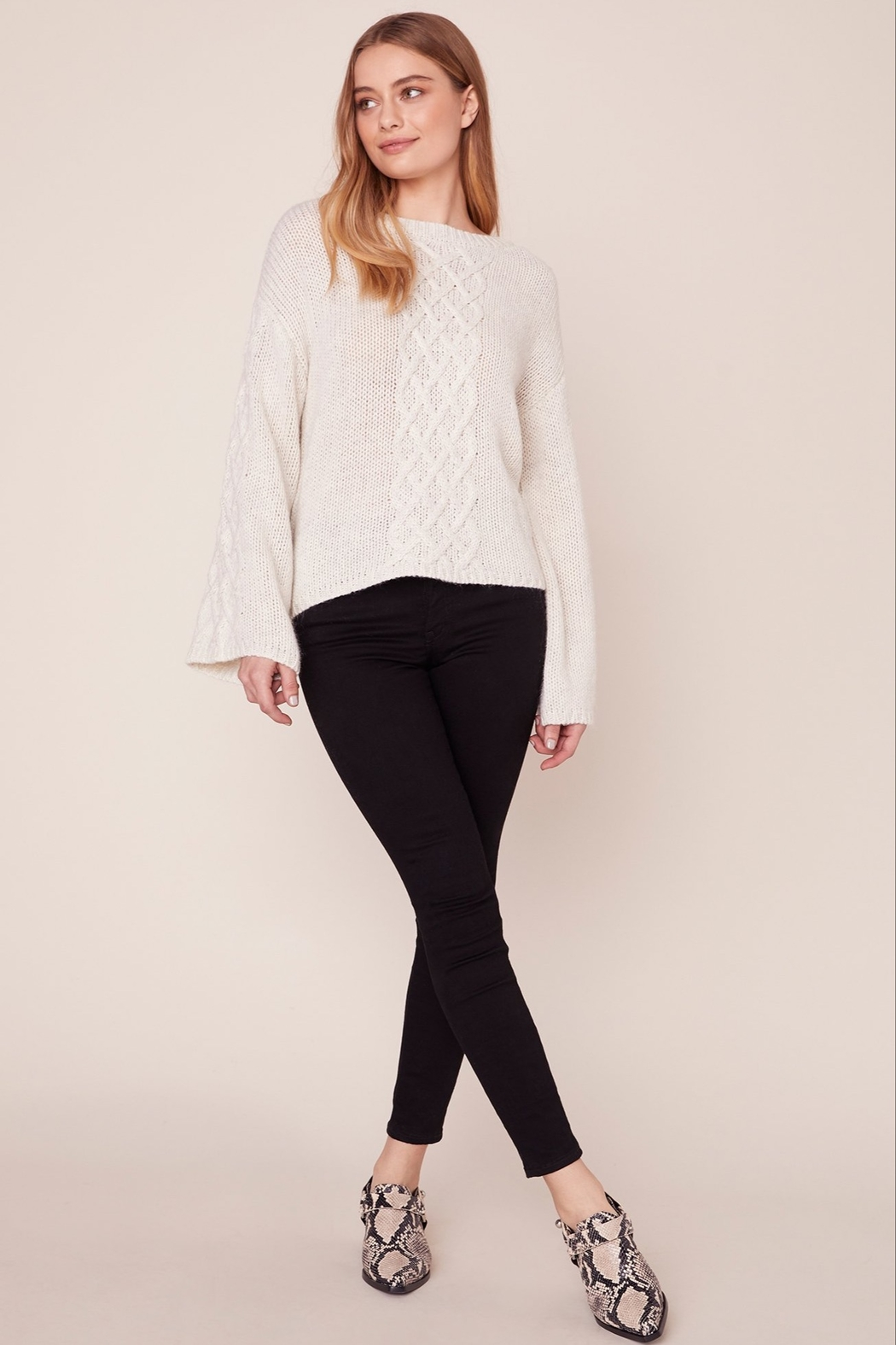 BB Dakota CABLE KNIT SWEATER - Front Cropped Image