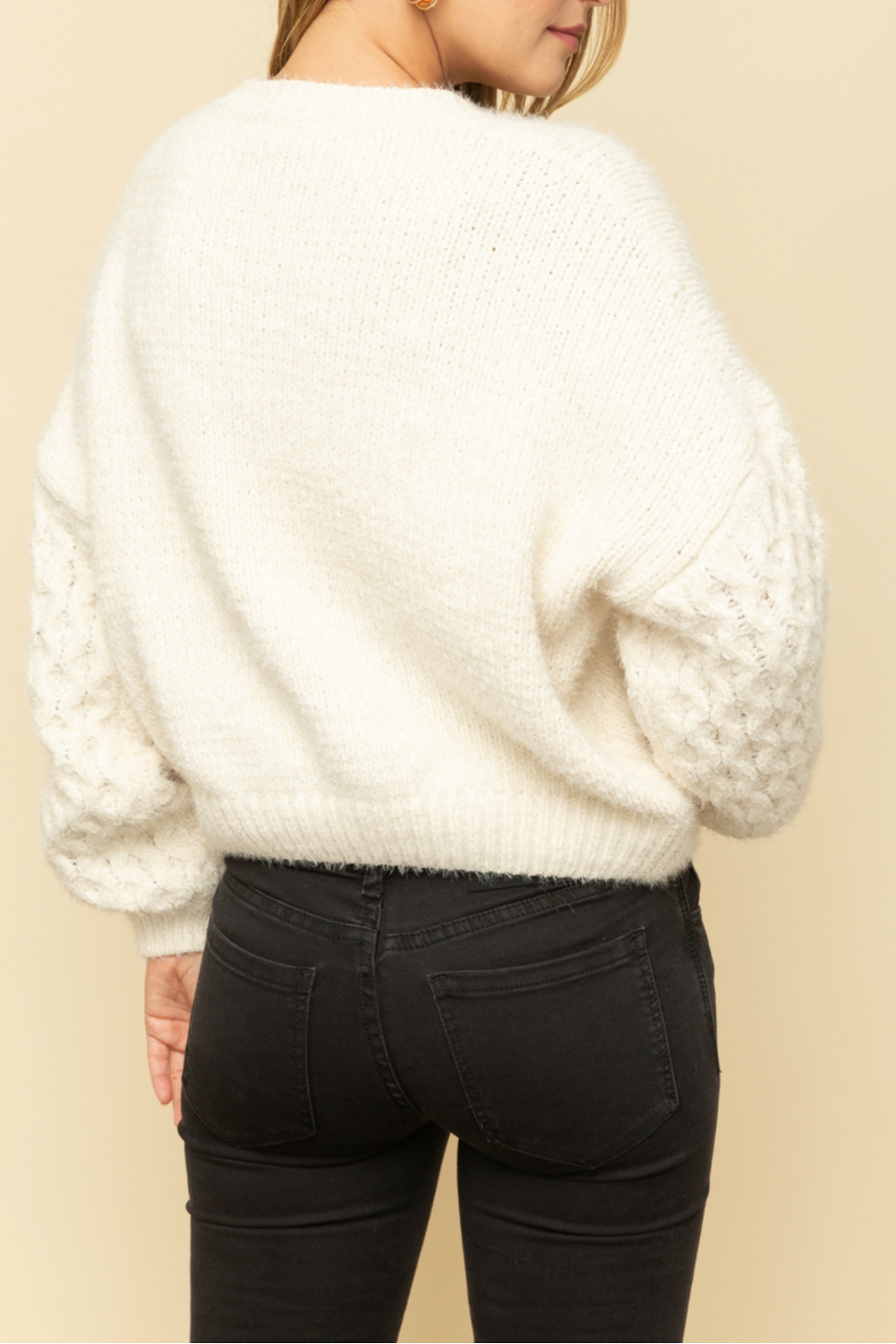 Mystree Cable knit sweater - Side Cropped Image