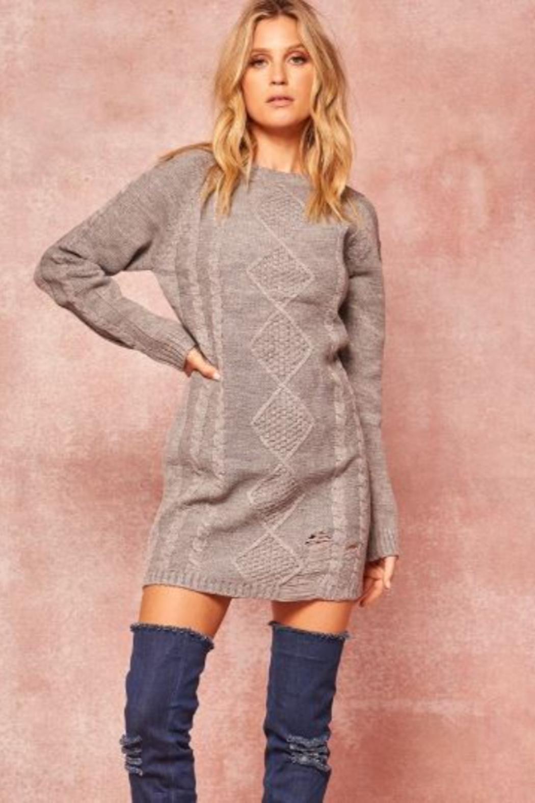 Promesa USA Cable Knit Sweater Dress - Front Full Image